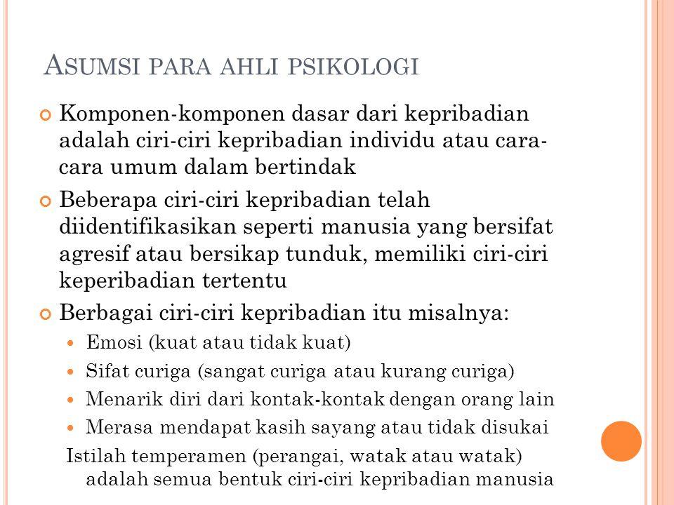 Asumsi para ahli psikologi