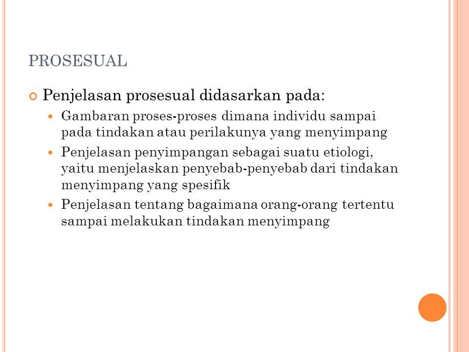prosesual Penjelasan prosesual didasarkan pada: