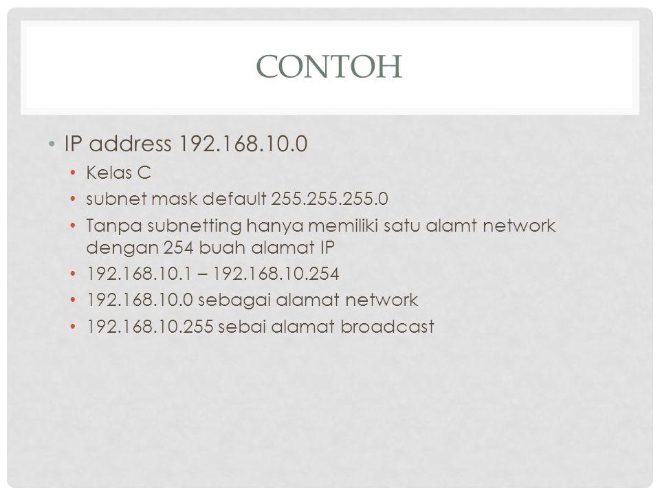 Contoh IP address 192.168.10.0 Kelas C