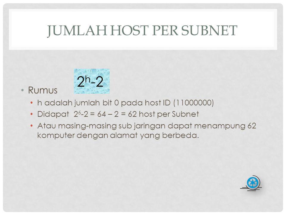 2h-2 Jumlah Host Per Subnet Rumus