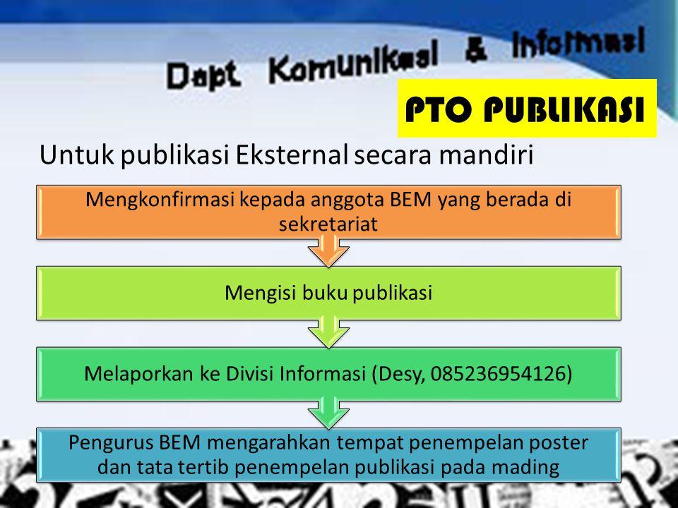 PTO PUBLIKASI Untuk publikasi Eksternal secara mandiri