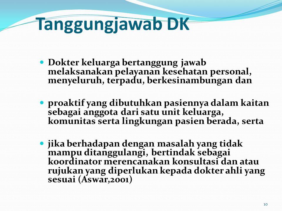 Tanggungjawab DK Dokter keluarga bertanggung jawab melaksanakan pelayanan kesehatan personal, menyeluruh, terpadu, berkesinambungan dan.