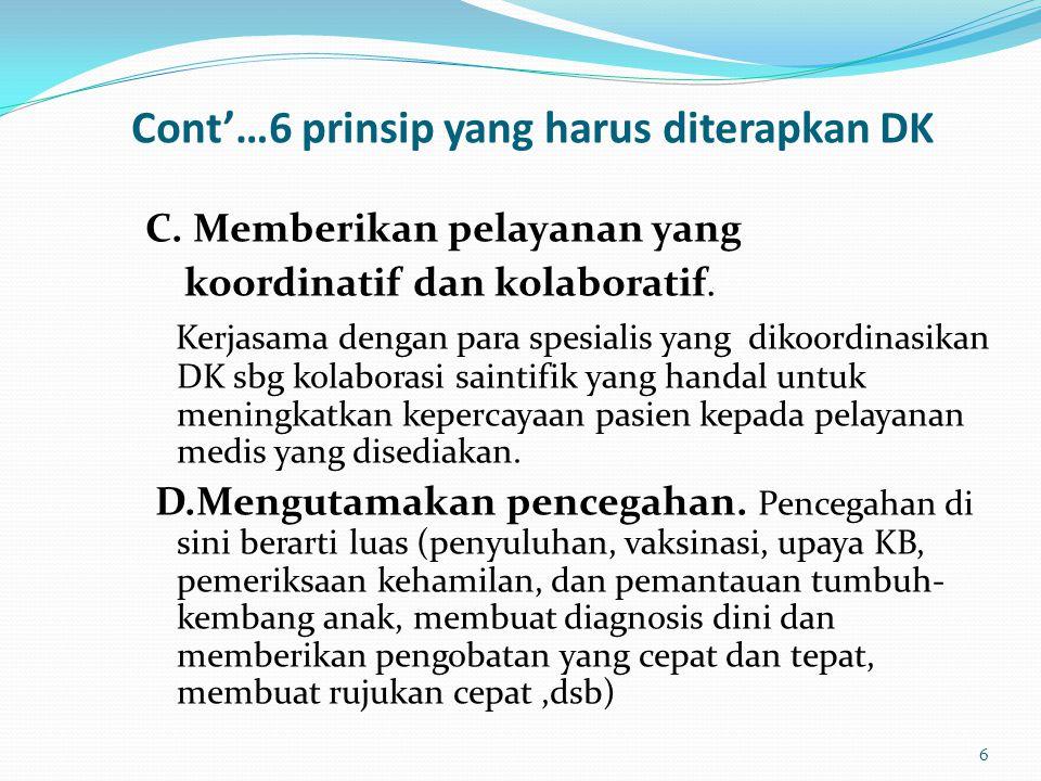 Cont'…6 prinsip yang harus diterapkan DK