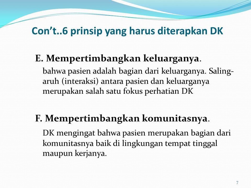 Con't..6 prinsip yang harus diterapkan DK