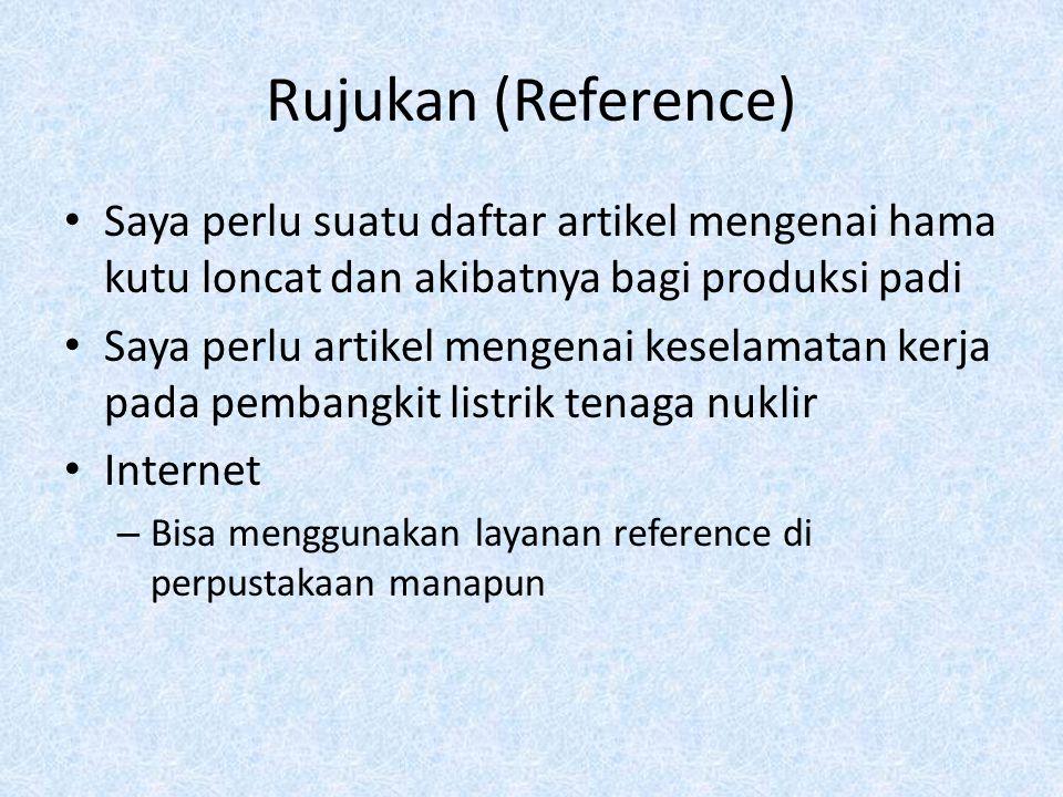 Rujukan (Reference) Saya perlu suatu daftar artikel mengenai hama kutu loncat dan akibatnya bagi produksi padi.