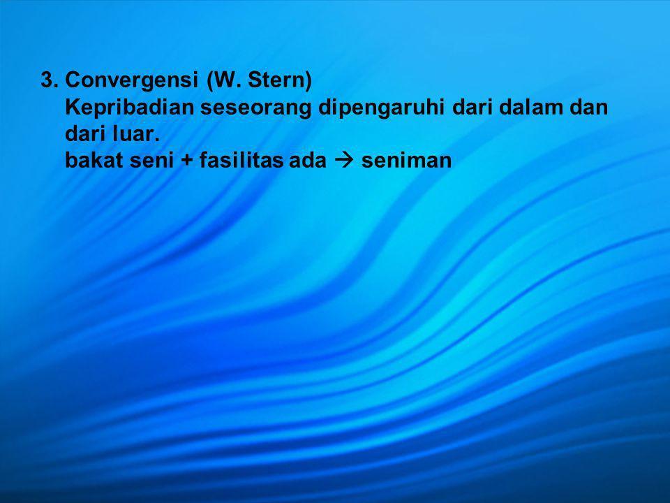 3. Convergensi (W. Stern) Kepribadian seseorang dipengaruhi dari dalam dan dari luar.