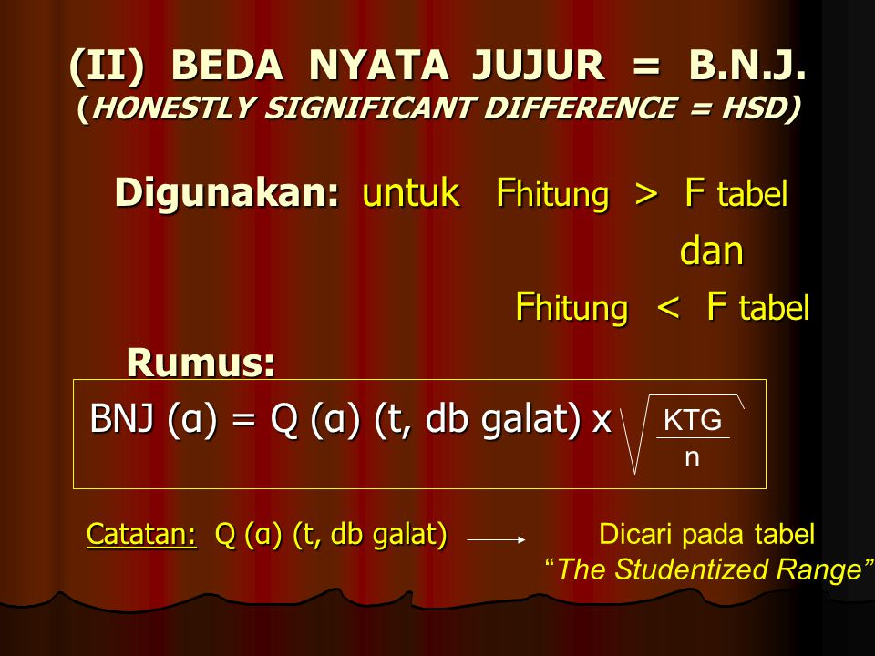 (II) BEDA NYATA JUJUR = B.N.J. (HONESTLY SIGNIFICANT DIFFERENCE = HSD)