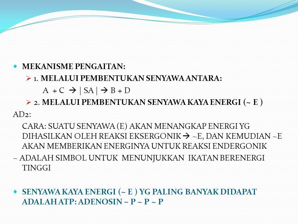 MEKANISME PENGAITAN: 1. MELALUI PEMBENTUKAN SENYAWA ANTARA: A + C  | SA |  B + D. 2. MELALUI PEMBENTUKAN SENYAWA KAYA ENERGI (~ E )