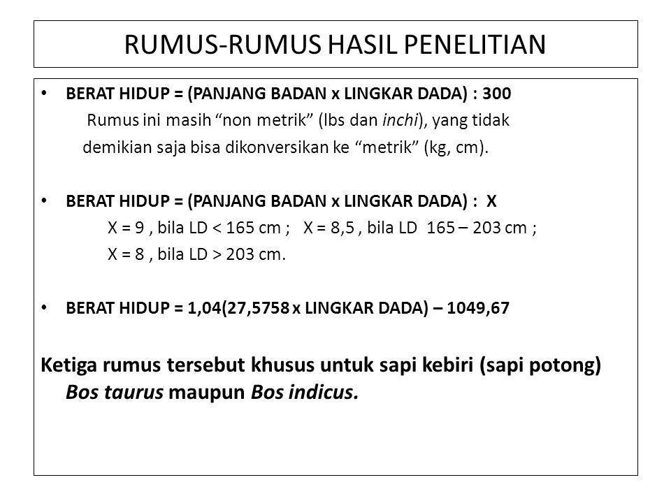 RUMUS-RUMUS HASIL PENELITIAN