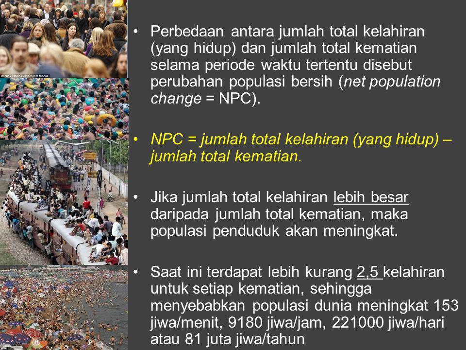 Perbedaan antara jumlah total kelahiran (yang hidup) dan jumlah total kematian selama periode waktu tertentu disebut perubahan populasi bersih (net population change = NPC).