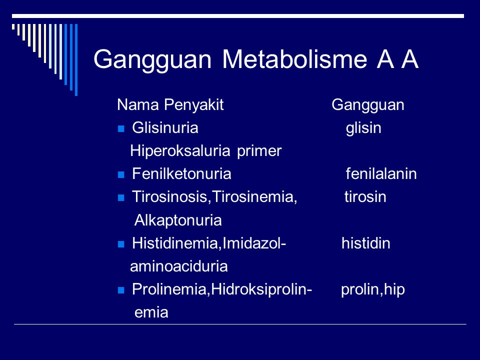 Gangguan Metabolisme A A