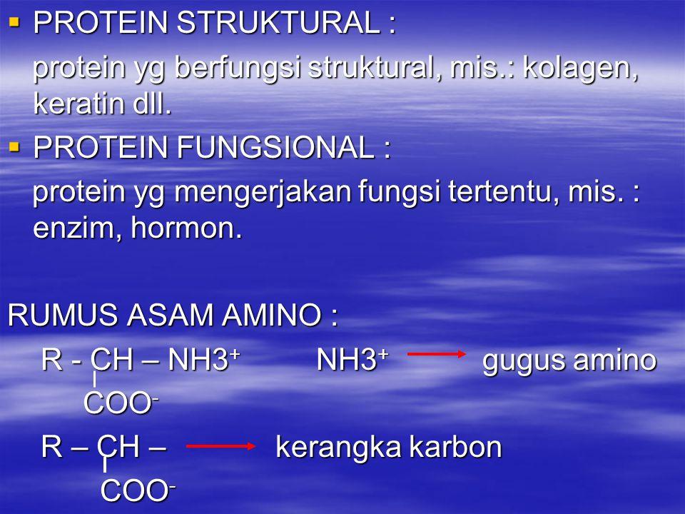 PROTEIN STRUKTURAL : protein yg berfungsi struktural, mis.: kolagen, keratin dll. PROTEIN FUNGSIONAL :