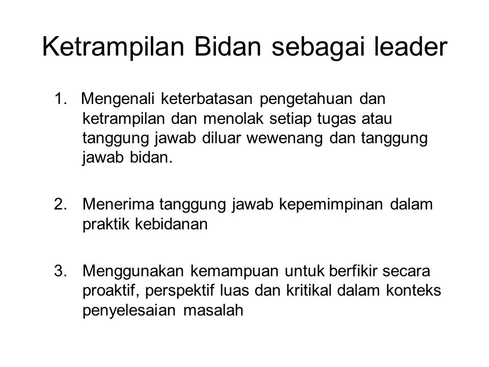 Ketrampilan Bidan sebagai leader