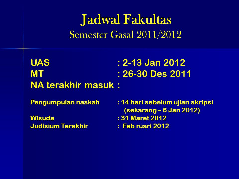 Jadwal Fakultas Semester Gasal 2011/2012 UAS : 2-13 Jan 2012