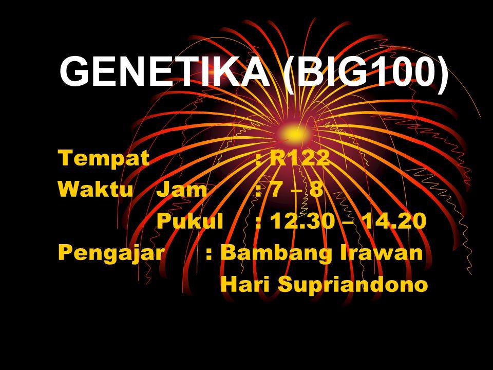 GENETIKA (BIG100) Tempat : R122 Waktu Jam : 7 – 8