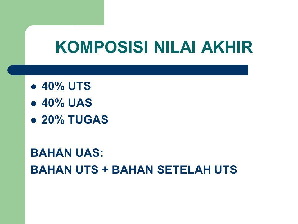 KOMPOSISI NILAI AKHIR 40% UTS 40% UAS 20% TUGAS BAHAN UAS: