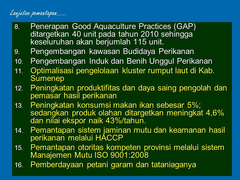 Lanjutan pemantapan..... Penerapan Good Aquaculture Practices (GAP) ditargetkan 40 unit pada tahun 2010 sehingga keseluruhan akan berjumlah 115 unit.