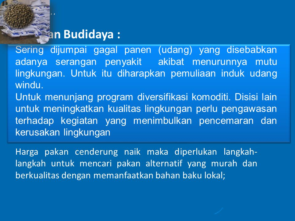 Lanjutan ..... Perikanan Budidaya :