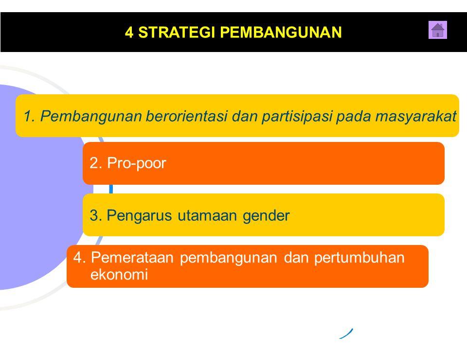 4 STRATEGI PEMBANGUNAN Pembangunan berorientasi dan partisipasi pada masyarakat. Pro-poor. 3. Pengarus utamaan gender.