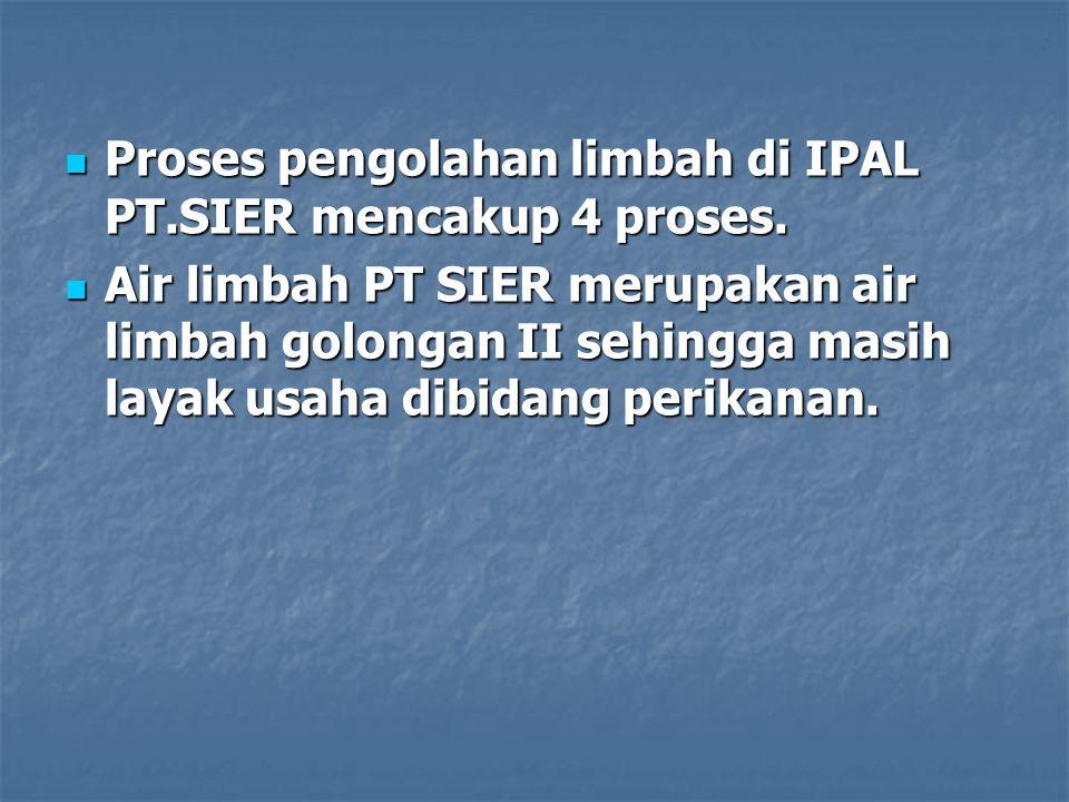 Proses pengolahan limbah di IPAL PT.SIER mencakup 4 proses.