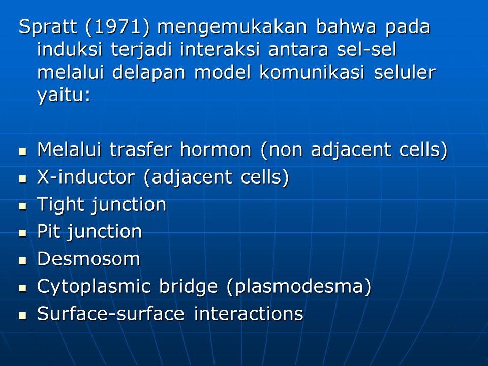 Spratt (1971) mengemukakan bahwa pada induksi terjadi interaksi antara sel-sel melalui delapan model komunikasi seluler yaitu: