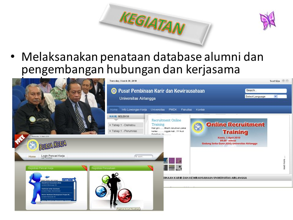 KEGIATAN Melaksanakan penataan database alumni dan pengembangan hubungan dan kerjasama kealumnian