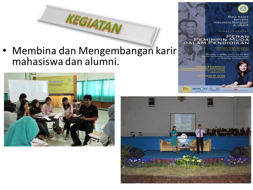 KEGIATAN Membina dan Mengembangan karir mahasiswa dan alumni.