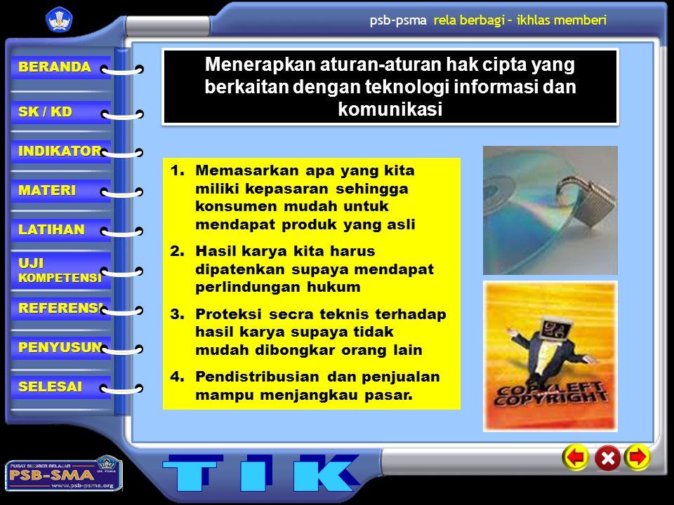 Menerapkan aturan-aturan hak cipta yang berkaitan dengan teknologi informasi dan komunikasi