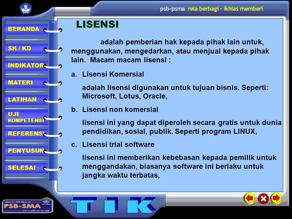 LISENSI adalah pemberian hak kepada pihak lain untuk, menggunakan, mengedarkan, atau menjual kepada pihak lain. Macam macam lisensi :