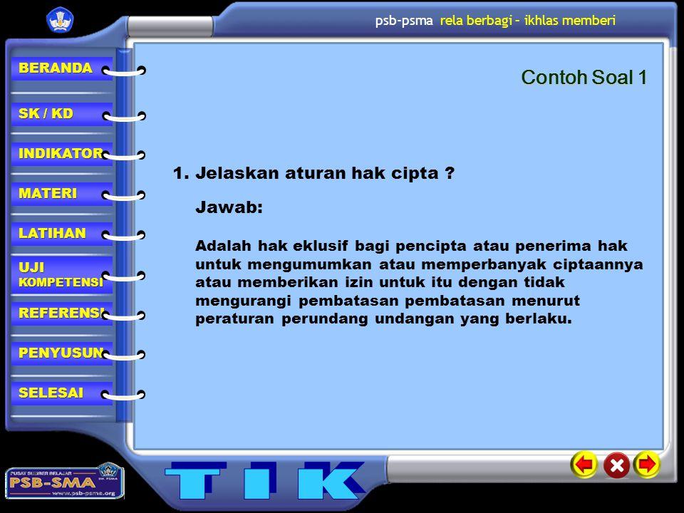 Contoh Soal 1 1. Jelaskan aturan hak cipta Jawab: