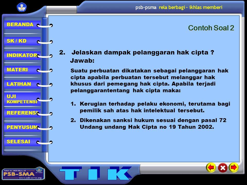 Contoh Soal 2 2. Jelaskan dampak pelanggaran hak cipta Jawab: