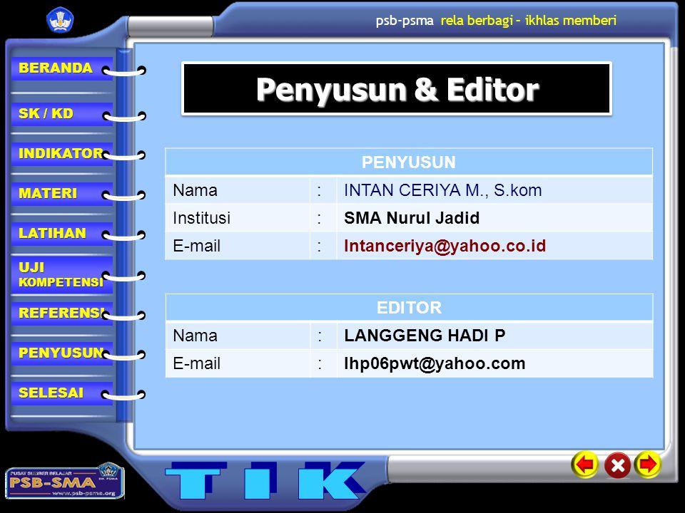 Penyusun & Editor PENYUSUN Nama : INTAN CERIYA M., S.kom Institusi