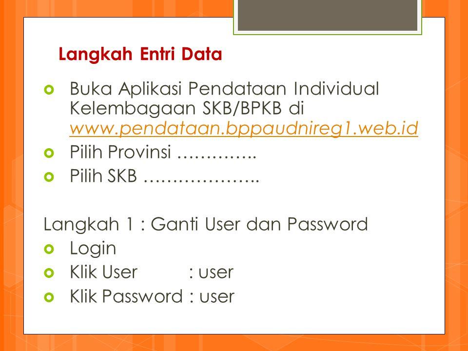 Langkah Entri Data Buka Aplikasi Pendataan Individual Kelembagaan SKB/BPKB di www.pendataan.bppaudnireg1.web.id.