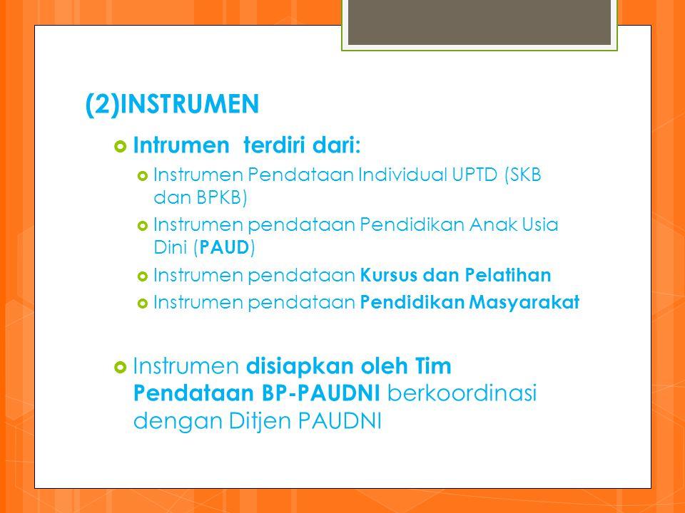 (2)INSTRUMEN Intrumen terdiri dari: