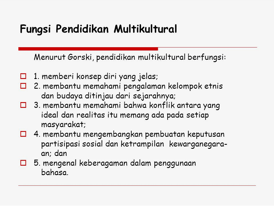 Fungsi Pendidikan Multikultural