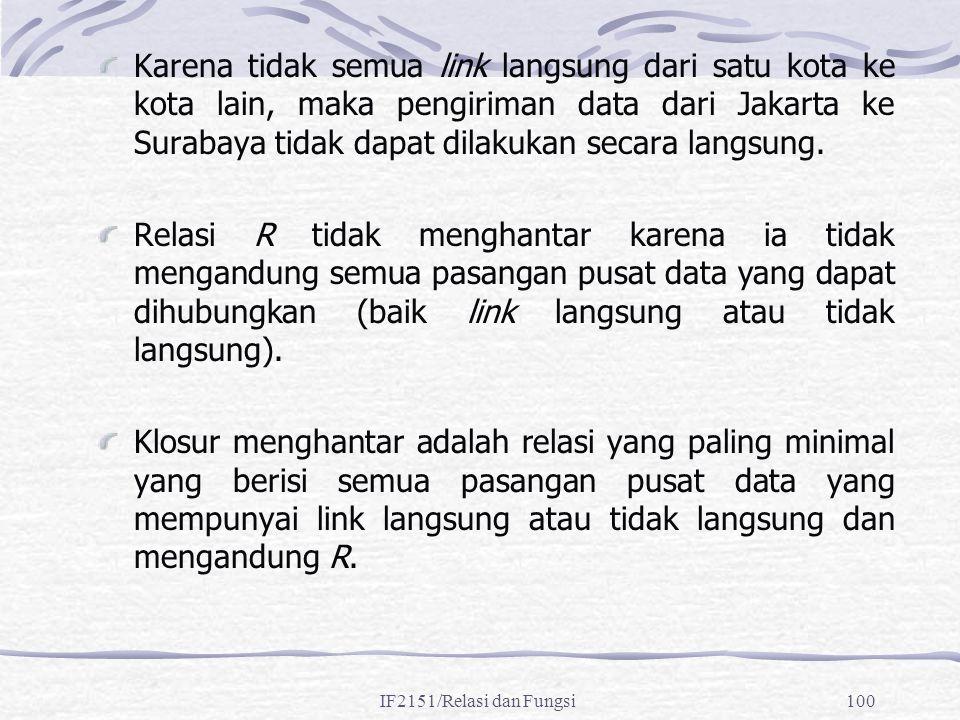 Karena tidak semua link langsung dari satu kota ke kota lain, maka pengiriman data dari Jakarta ke Surabaya tidak dapat dilakukan secara langsung.