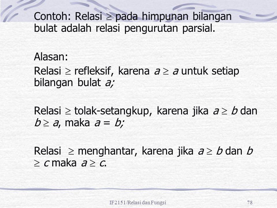 Relasi  refleksif, karena a  a untuk setiap bilangan bulat a;