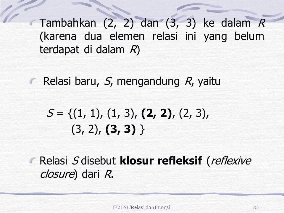 Relasi baru, S, mengandung R, yaitu