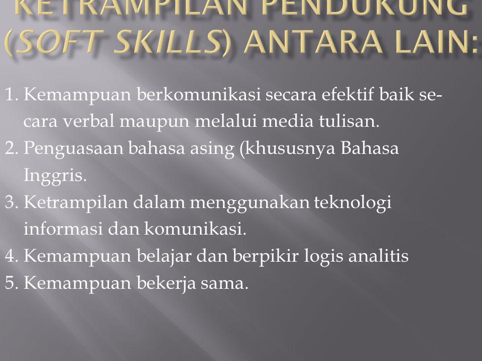 2. Kemampuan & Ketrampilan Pendukung (soft skills) antara lain: