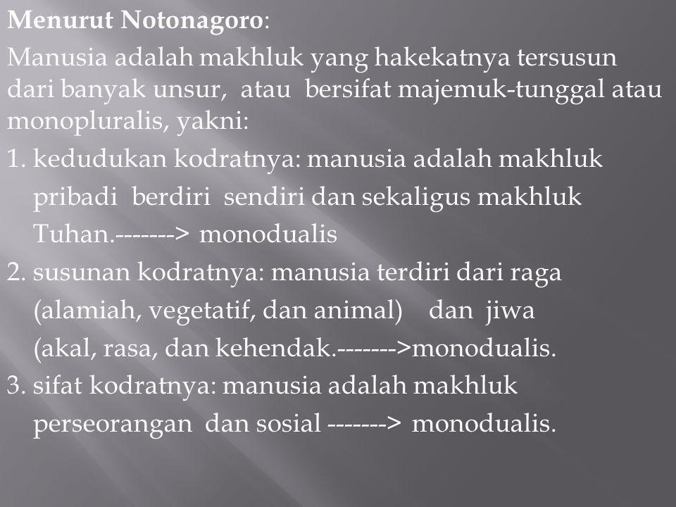 Menurut Notonagoro: Manusia adalah makhluk yang hakekatnya tersusun dari banyak unsur, atau bersifat majemuk-tunggal atau monopluralis, yakni: