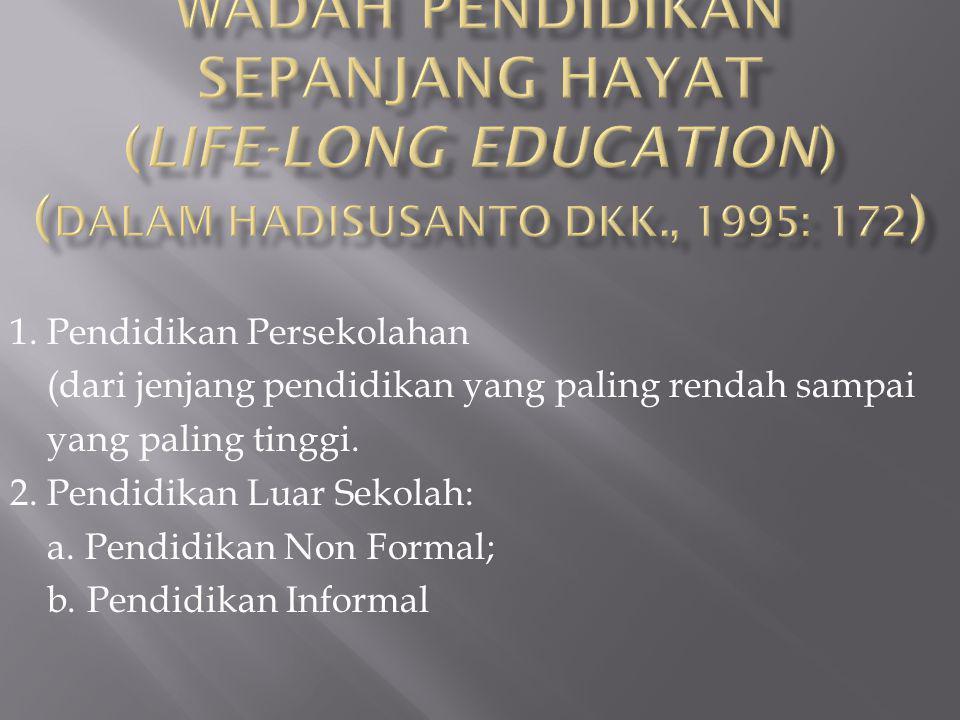 Wadah Pendidikan Sepanjang Hayat (life-long education) (dalam Hadisusanto dkk., 1995: 172)