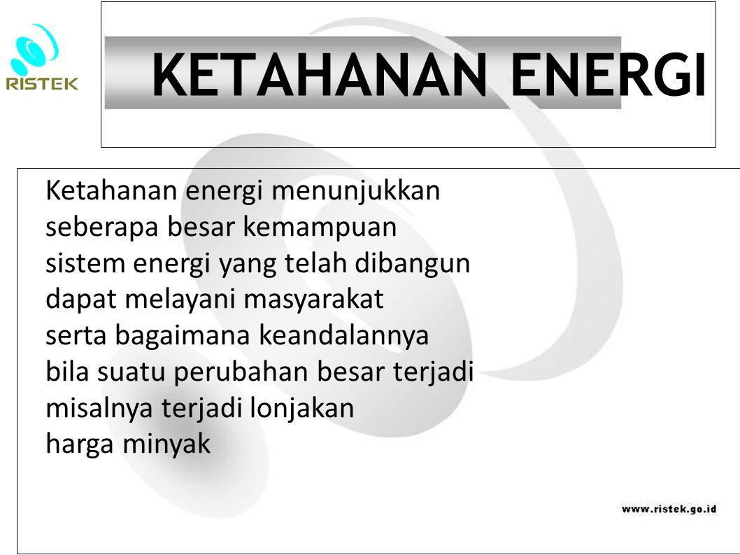 KETAHANAN ENERGI Ketahanan energi menunjukkan seberapa besar kemampuan