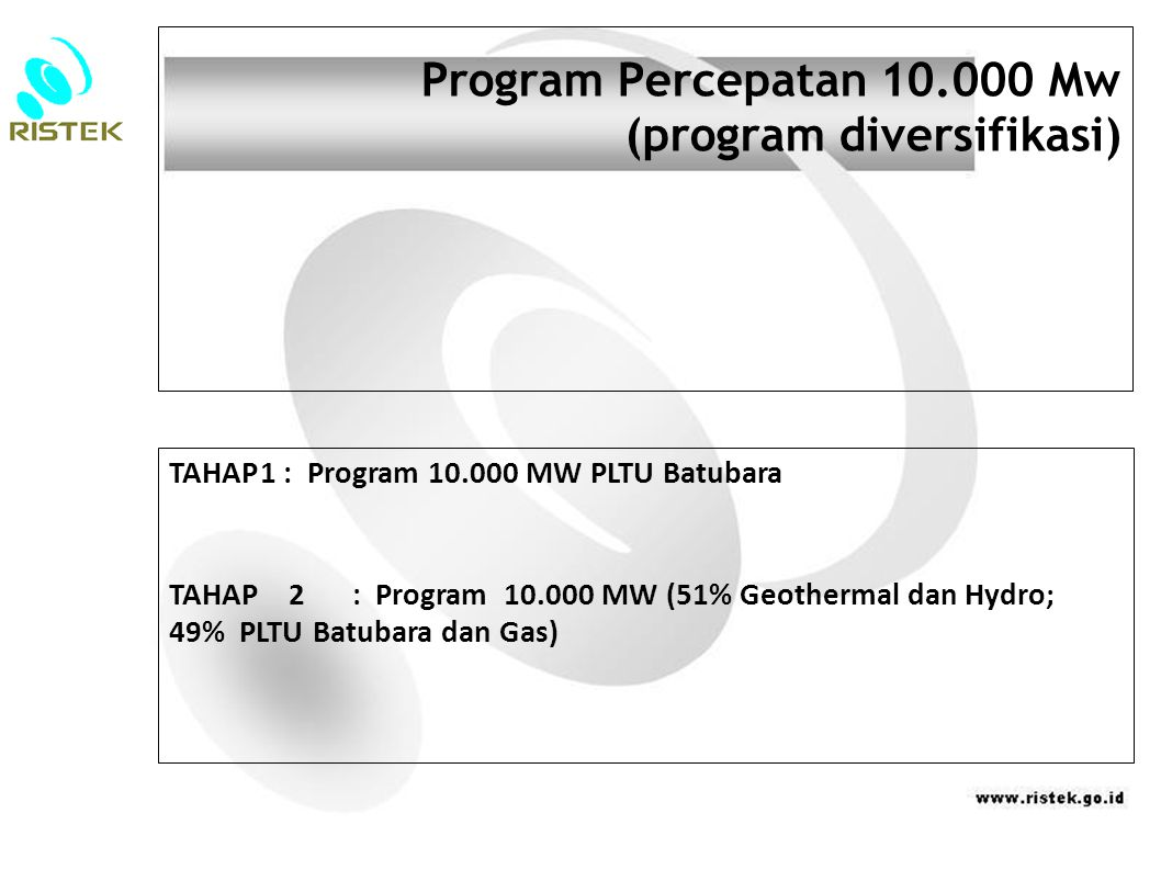 Program Percepatan 10.000 Mw (program diversifikasi)