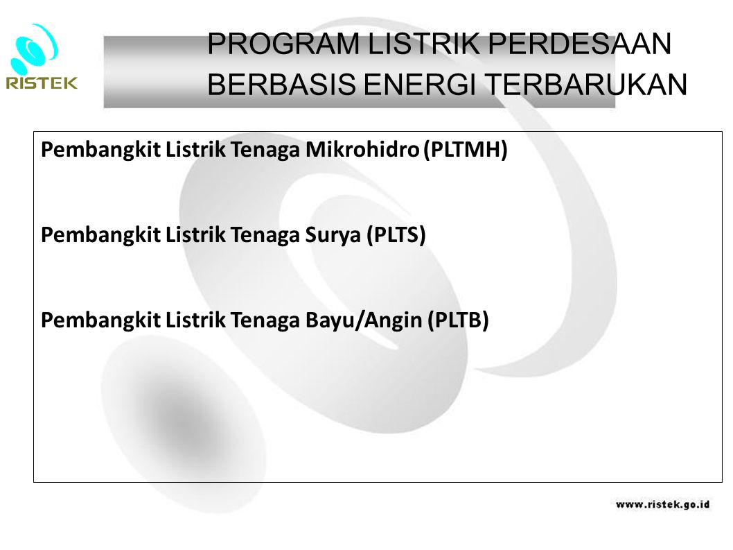 PROGRAM LISTRIK PERDESAAN BERBASIS ENERGI TERBARUKAN