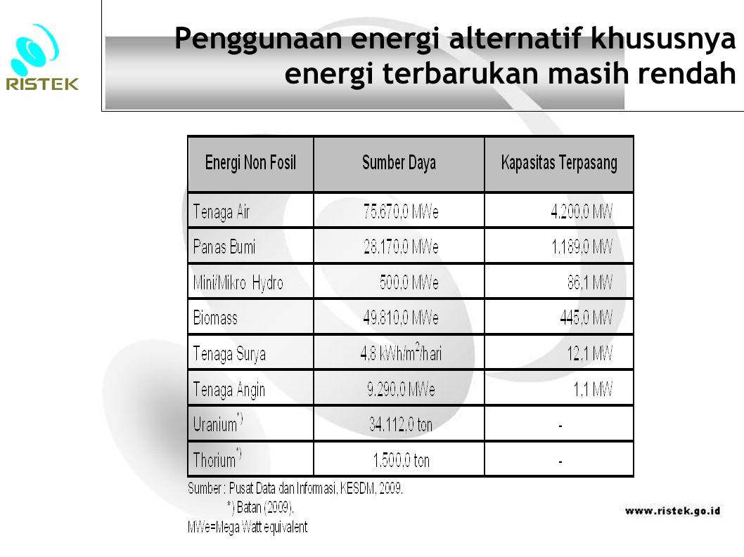 Penggunaan energi alternatif khususnya energi terbarukan masih rendah