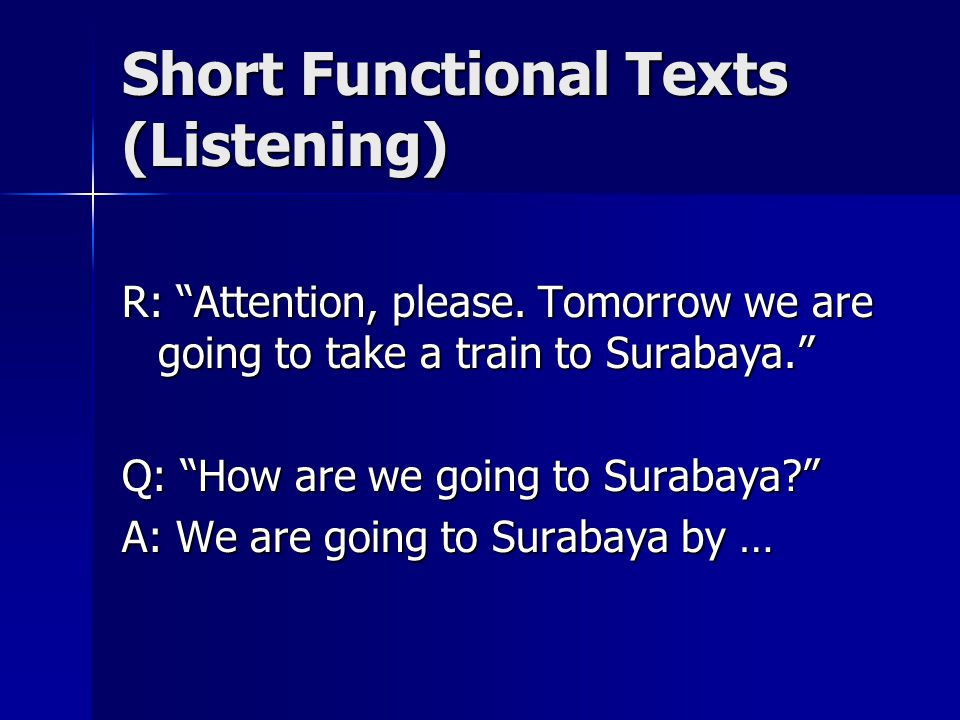 Short Functional Texts (Listening)