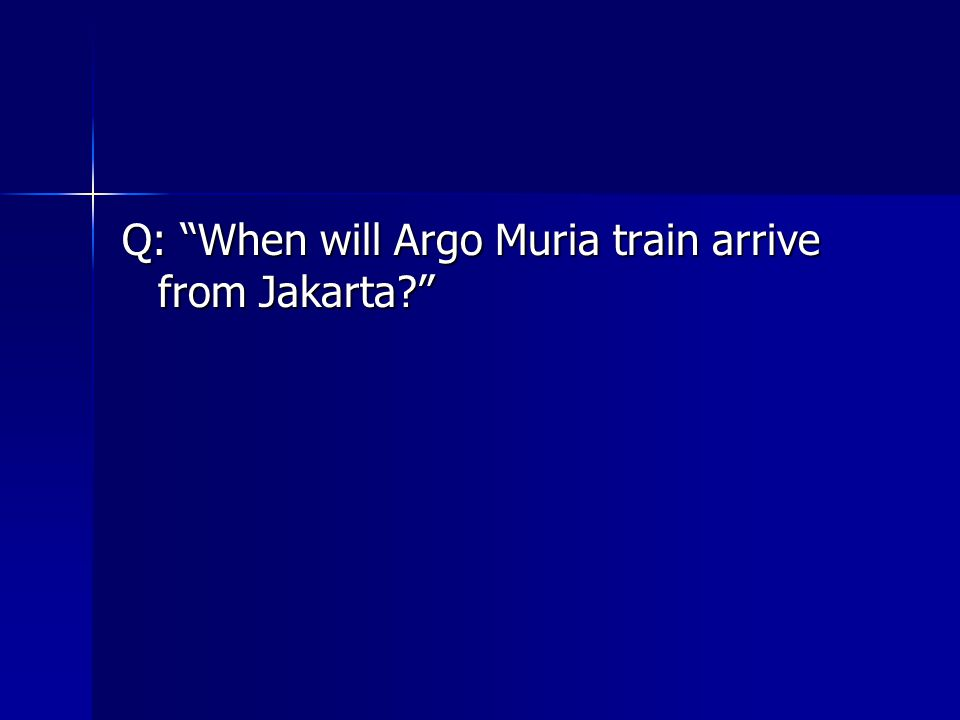 Q: When will Argo Muria train arrive from Jakarta