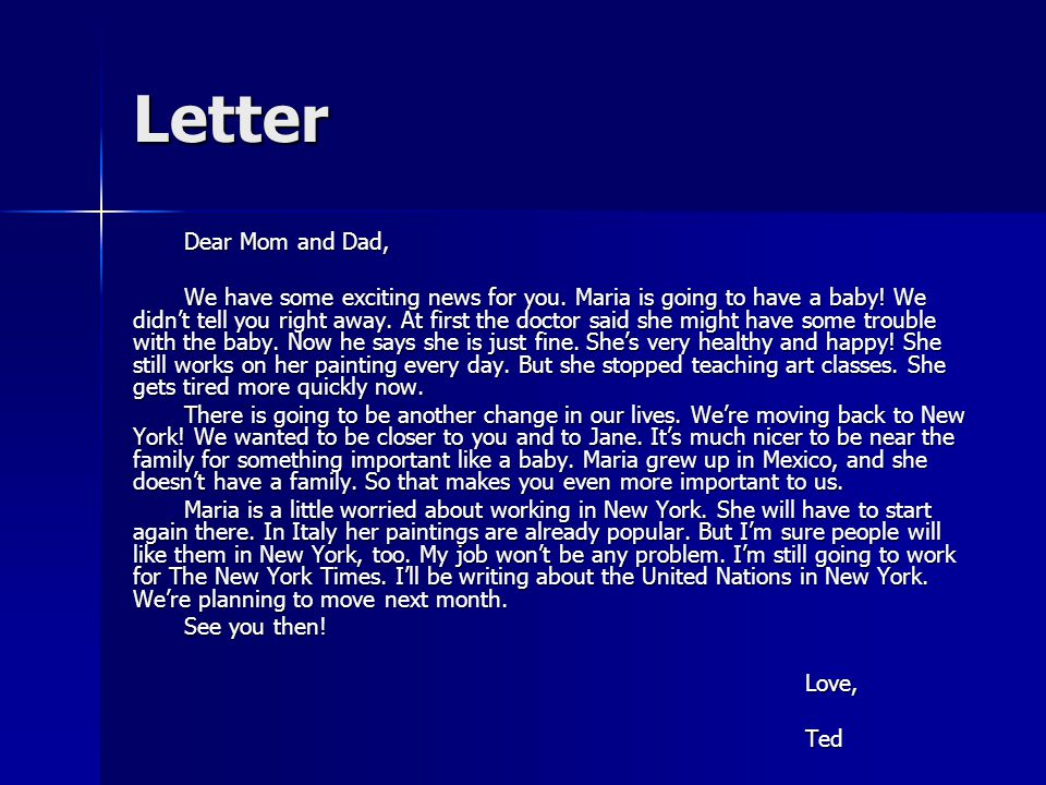 Letter Dear Mom and Dad,