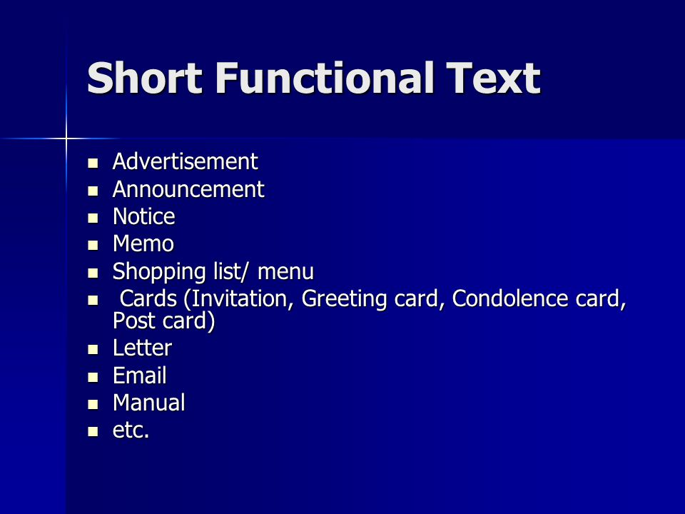 Short Functional Text Advertisement Announcement Notice Memo