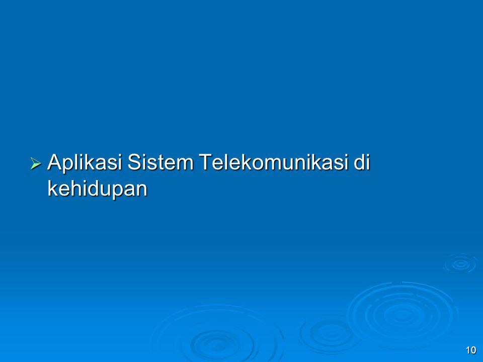 Aplikasi Sistem Telekomunikasi di kehidupan
